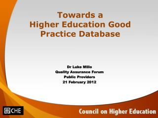 Towards a  Higher Education Good Practice Database