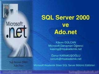 SQL Server 2000 ve Ado