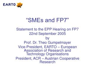 �SMEs and FP7�