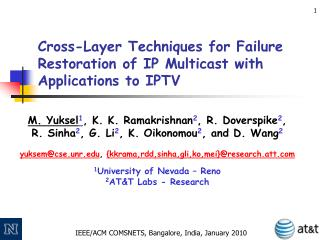 Cross-Layer Techniques for Failure Restoration of IP Multicast with Applications to IPTV