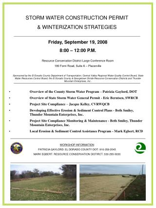STORM WATER CONSTRUCTION PERMIT & WINTERIZATION STRATEGIES