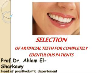 Prof.Dr.  Ahlam  El- Sharkawy Head of  prosthodontic departement   Pharos University in Alexandria