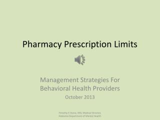 Pharmacy Prescription Limits