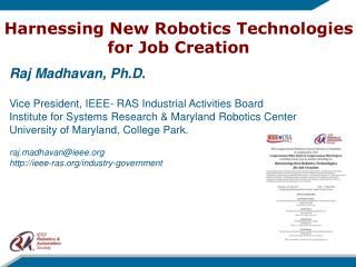 Harnessing New  Robotics Technologies for  Job Creation