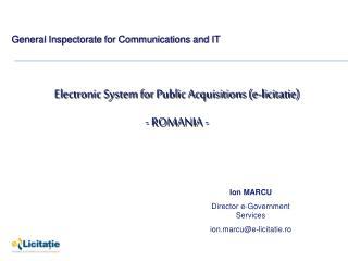 Electronic System for Public Acquisitions (e-licitatie) - ROMANIA -