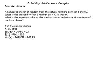 Probability distributions - Examples Discrete Uniform