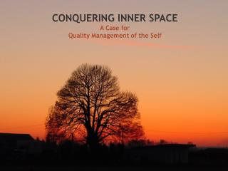 CONQUERING INNER SPACE A Case for  Quality Management of the Self