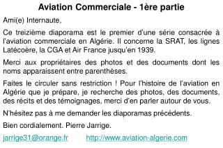 Aviation Commerciale - 1ère partie Ami(e) Internaute,