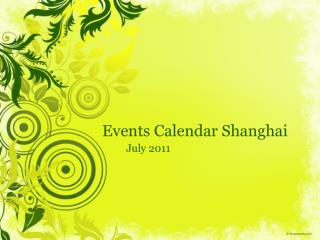 Events Calendar Shanghai