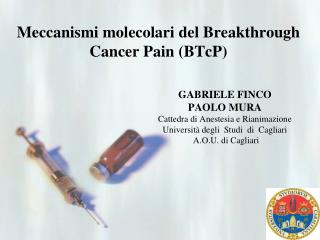 Meccanismi molecolari del  Breakthrough Cancer Pain  ( BTcP )