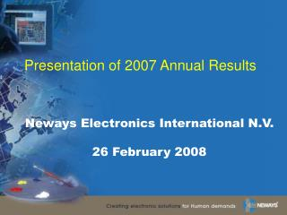Presentation of 2007 Annual Results
