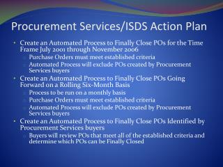 Procurement Services/ISDS Action Plan