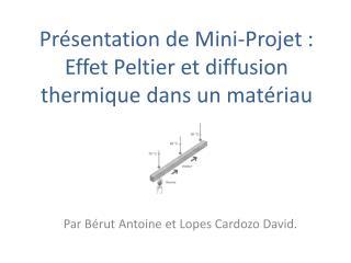 Pr sentation de Mini-Projet : Effet Peltier et diffusion thermique dans un mat riau