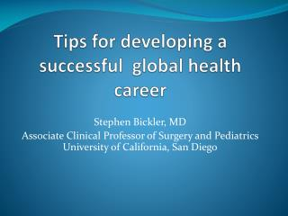 Tips for developing a successful  global health career