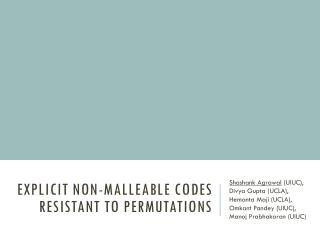 Explicit Non-Malleable Codes Resistant to Permutations