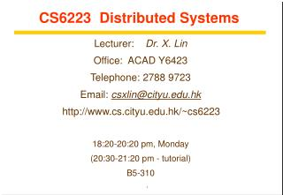 CS6223  Distributed Systems