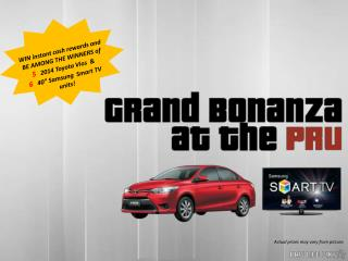 WIN instant cash rewards and BE AMONG THE WINNERS of 5    2014 Toyota Vios  &