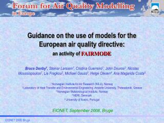 Guidance on the use of models for the European air quality directive: an activity of  FAIRMODE