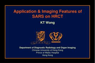 Application & Imaging Features of SARS on HRCT