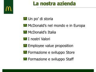 Un po' di storia  McDonald's nel mondo e in Europa  McDonald's Italia  I nostri Valori