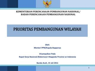 PRIORITAS PEMBANGUNAN WILAYAH