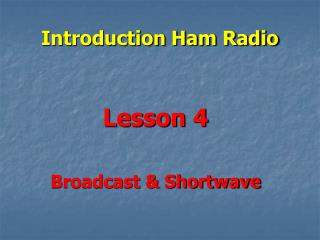Introduction Ham Radio