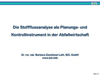 Die Stoffflussanalyse als Planungs- und Kontrollinstrument in der Abfallwirtschaft