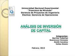 """Universidad Nacional Experimental """"Francisco de Miranda"""" Gerencia de Proyectos de Ingeniería"""