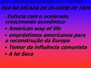 EUA NA DÉCADA DE 20-CRISE DE 1929