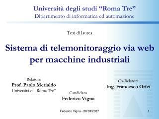 Sistema di telemonitoraggio via web per macchine industriali