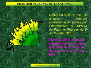 CHANTIER DE JEUNES INTERNATIONAL