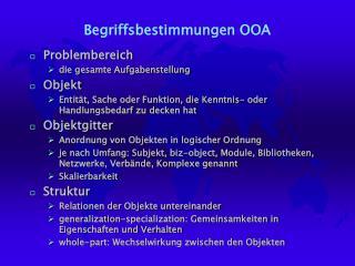 Begriffsbestimmungen OOA