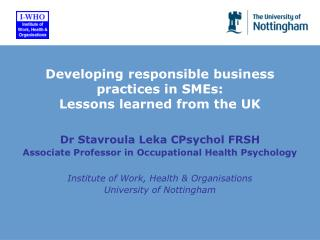 Developing responsible business practices in SMEs:  Lessons learned from the UK