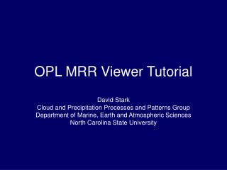 OPL MRR Viewer Tutorial