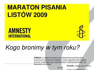MARATON PISANIA LISTÓW 2009