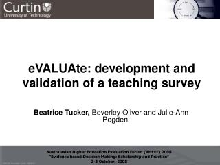 eVALUAte: development and validation of a teaching survey