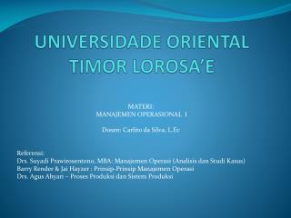 UNIVERSIDADE ORIENTAL TIMOR LOROSA'E