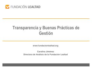 Transparencia y Buenas Prácticas de Gestión