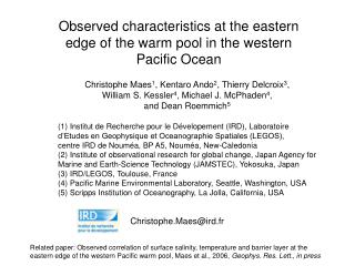 Observed characteristics at the eastern edge of the warm pool in the western Pacific Ocean