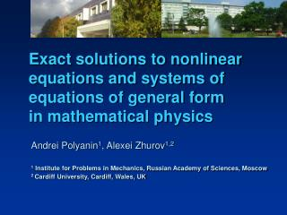 Exact solutions to nonlinear equations and systems of equations of general form in mathematical physics