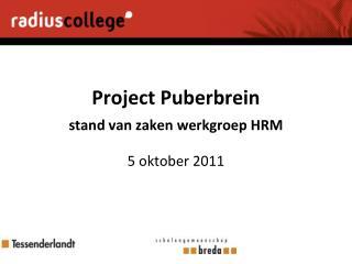 Project Puberbrein stand van zaken werkgroep HRM