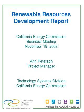Renewable Resources Development Report
