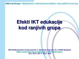 Efekti IKT edukacije  kod ranjivih grupa