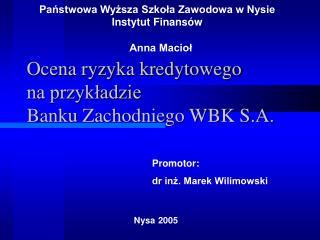 Ocena ryzyka kredytowego na przykładzie Banku Zachodniego WBK S.A.