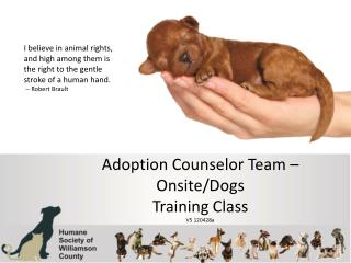 Adoption Counselor Team – Onsite/Dogs Training Class V5 120428a