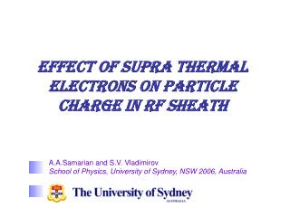 Effect of supra thermal electrons on particle charge in RF sheath