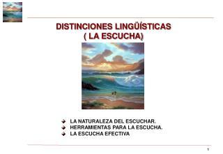 DISTINCIONES LING��STICAS  ( LA ESCUCHA)
