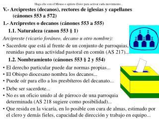 V.- Arciprestes (decanos), rectores de iglesias y capellanes (cánones 553 a 572)