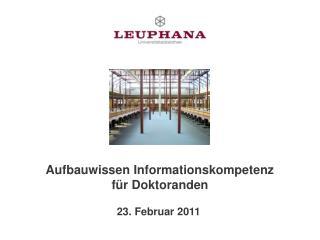 Aufbauwissen Informationskompetenz  für Doktoranden