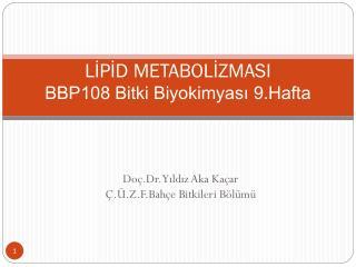 LİPİD METABOLİZMASI BBP108 Bitki Biyokimyası 9.Hafta
